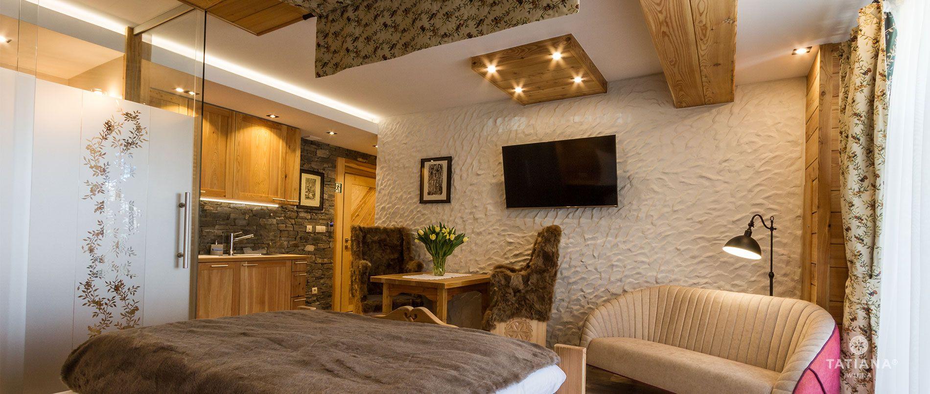 Apartament Modrzewiowy - aneks kuchenny i salon