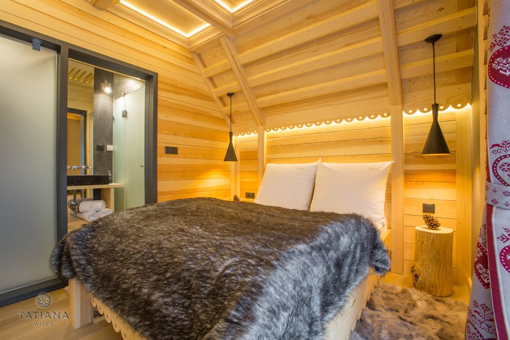 Apartament Alpejski Willa Tatiana folk drewniana sypialnia