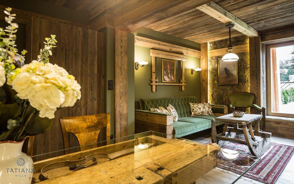 Apartament Karpacki Willa Tatiana folk drewniany pokój