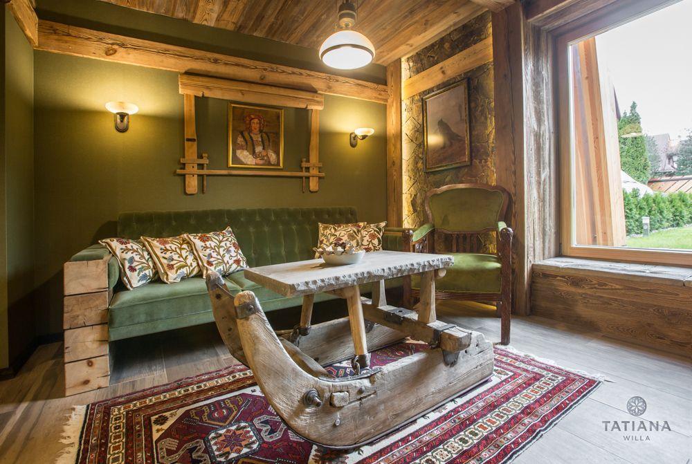 Apartament Karpacki Willa Tatiana folk drewniany salon