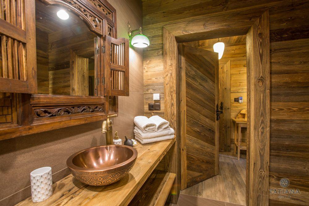 Apartament Karpacki Willa Tatiana folk drewniana łazienka
