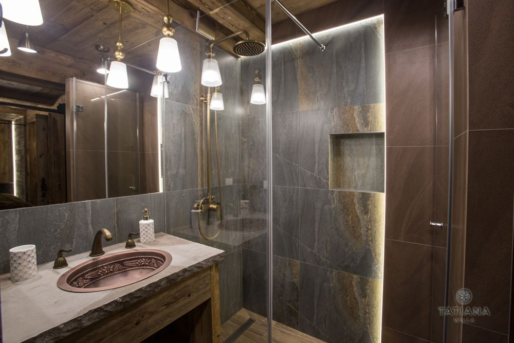 Apartament Karpacki Willa Tatiana folk łazienka z kamienia