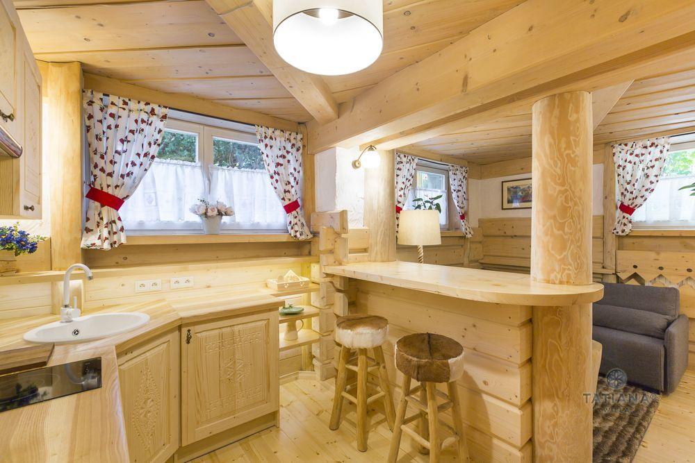 Apartament 1 Tatiana Premium Zakopane drewniany aneks kuchenny