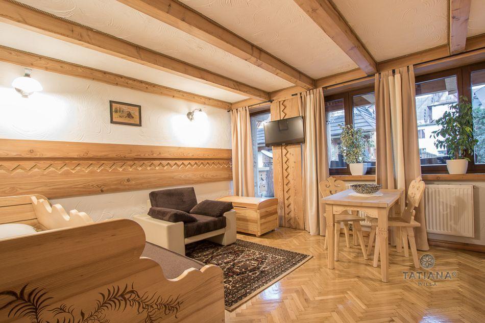 Apartament 4 Tatiana Premium Zakopane drewniany salon