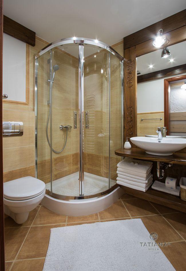 Apartament 5 Tatiana Premium Zakopane łazienka z akcentem drewnianym
