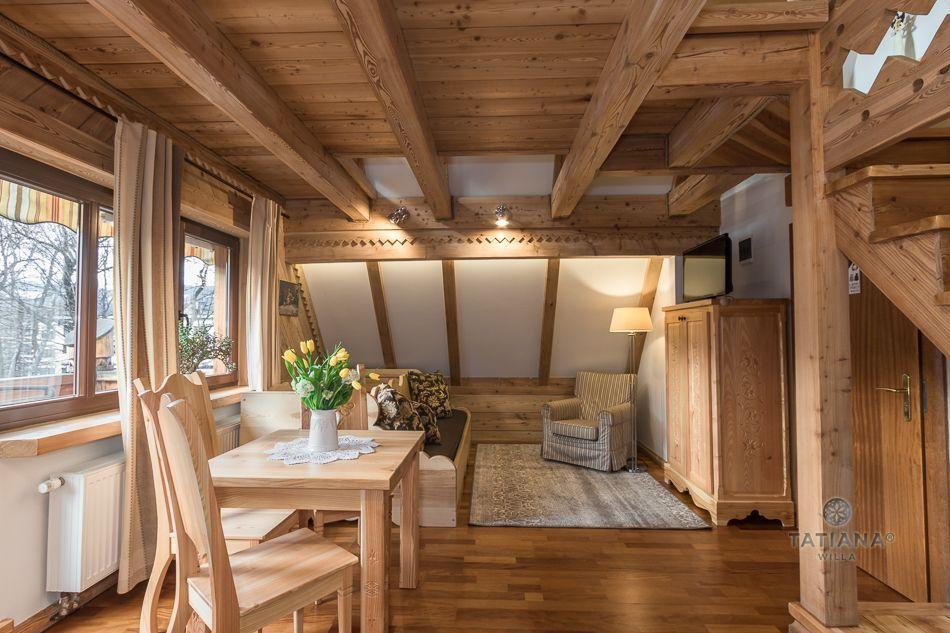 Apartament 6 Tatiana Premium Zakopane drewniany salon