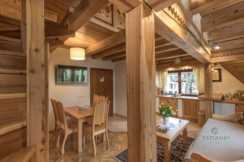 Apartament 8 Tatiana Premium Zakopane drewniany salon