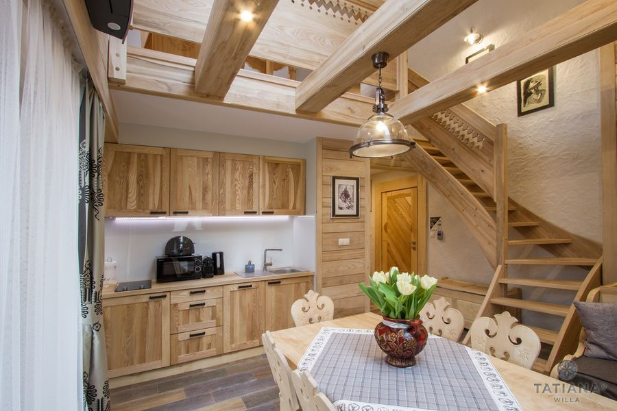 Apartament Jesionowy Willa Tatiana boutique drewniany aneks kuchenny