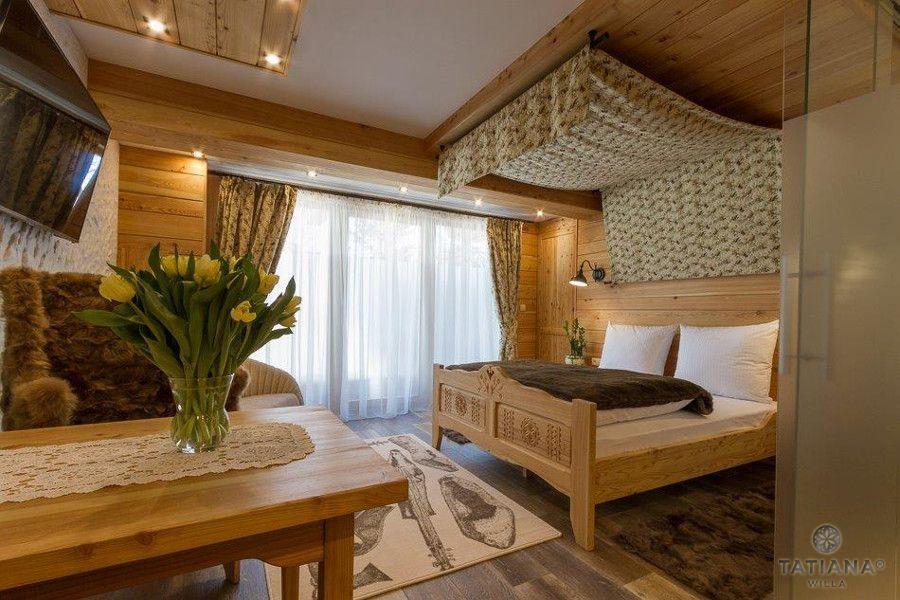Apartament Modrzewiowy Willa Tatiana boutique sypialnia w stylu góralskim